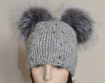 Double Pompom Hat 2 Bobble Hat 2 Fur Pom Pom Beanie Hat SALE Ski Women Hat Kylie Jenner Style Christmas Gift under 100