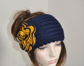 University of Michigan Hat Flower Ear Warmer Headband Knit CHOOSE COLOR Navy Yellow Michigan Wolverines Ear Warmer Christmas Gift
