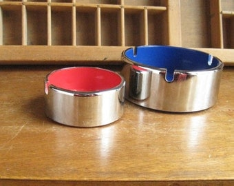 Mid Century Chrome Ashtray Modern Silver Takahashi 1960s Vintage Ash Tray Blue and Red Interior