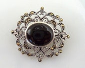 CW 925 Sterling Onyx Marcasite Brooch Victorian Style Pin