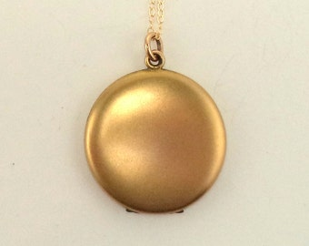 Antique Victorian Gold Filled Locket Pendant Chain Necklace