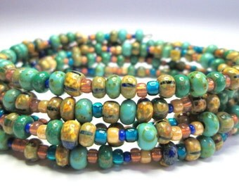 Ancient Oceans Chunky Beaded Wrap Bracelet  Memory Wire  Green Turquoise Bohemian Stacking Gypsy Boho Bangle Cuff Festival Jewelry