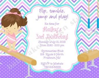 Gymnastics Birthday invitation invite gymnastic invitation sibling tumbling pink purple chevron girl african american DIY Printable Digital