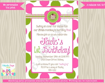 Mod Monkey Birthday Invitation Invite Girl Monkey Birthday mod monkey invitation Monkey Girl 1st birthday 2nd birthday - DIY Print Your Own