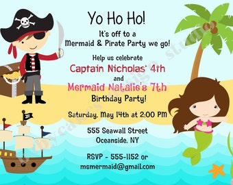 Pirate and mermaid invitation invite pirate mermaid birthday Party under the sea sibling invitation printable Choose Your Pirate and Mermaid