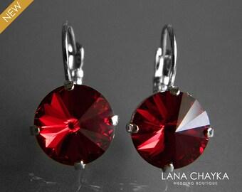 Dark Red Crystal Earrings Swarovski Siam Red Rivoli Silver Earrings Dark Red Crystal Leverback Wedding Earrings Hypoallergenic Earrings