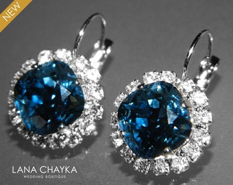Denim Blue Crystal Halo Earrings Swarovski Rhinestone Leverback Earrings Blue Hypoallergenic Earring Wedding Bridal Bridesmaids Jewelry