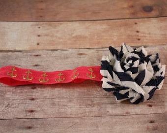 Infant Headband Elastic Headband With Fabric Flower.