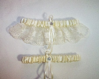 Ivory Cream Satin / Ivory Cream  Lace - 2 Piece Wedding Garter Set - 1 To Keep / 1 To Throw
