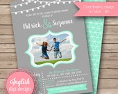 Hanging Lights Wedding Shower Invite, Couple's Shower Invitation, String Lights Bridal Shower, Photo - Hanging Lights in Gray and Seafoam
