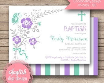 Butterfly Baptism Invitation, Floral Baptism Invite, Dedication Invitation, Baptism Invite - Floral Butterfly Invite in Gray, Teal, Purple
