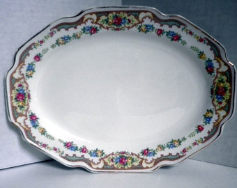 Grandma's fancy Platter, oval platter, antique dinnerware