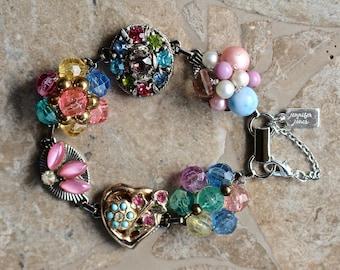 Reclaimed Vintage Earring Bracelet, Bridesmaid Gift, Boho, Upcycled 1940 Under 40, Pink, Heart, Multicolor, Silver, Jennifer Jones, Confetti