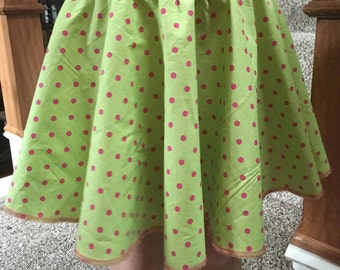 CLEARANCE - Girls 6 / 7 ready to ship Lime Green with Fuchsia Pink cotton circle skirt (S-4-17)