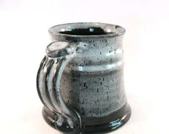 12 oz. Tankard  - Stein - Coffee Mug - Handmade Pottery - Pottersong  - Black and Blue - Black and White