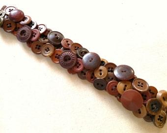 Brown Vintage Button Bracelet