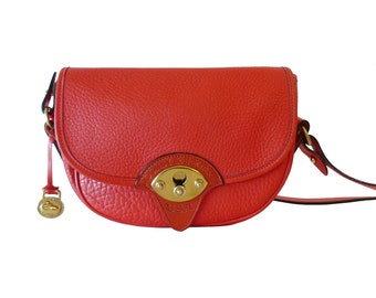 Authetnic Dooney & Bourke Watermelon Red Leather Cavalry Trooper Shoulder Bag