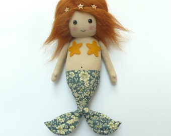 mermaid doll, cloth mermaid, mermaid rag doll, red-haired mermaid