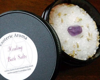 Healing Bath Salts - Ritual bathing, Wiccan, Pagan, witchcraft, witch, bath and body, bath salt blend, herbal bath salts, witchcraft supply