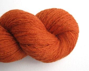 Heavy Lace Weight Merino Wool Recycled Yarn, Burnt Orange, 540 Yards, Lot 160216