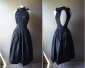 Vintage LOUISA NEVINS Party Dress Cut Out Dress Black Dress Open Back Dress Small Dress Witch Dress Witch Costume Sleeveless Dress Large Bow