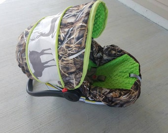 Advantage max 4 hd print with buck  lime minky infant cover Custom order comes with free strap covers