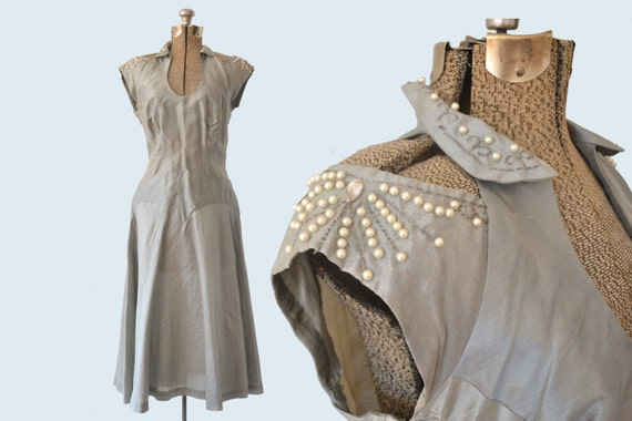 1950s Sage Satin Dress Open Shoulders