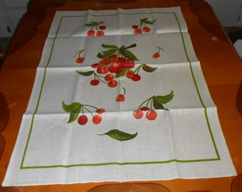 Vintage Linen Kitchen Tea Towel - Cherry - Cherries