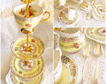 Pale Yellow 4-Tiered Tea Party Stand with Vintage China Teacups, Saucers, Creamer, Sugar Bowl & Spoons, Dessert Set By High Tea for Alice