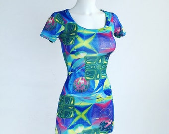 90's Trippy Outer Space Planet Print Mini Dress // S - M