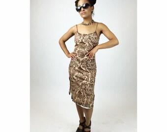 90's does 70's Boho Paisley Micro Mesh Mini Dress with Side Slits  // S - M