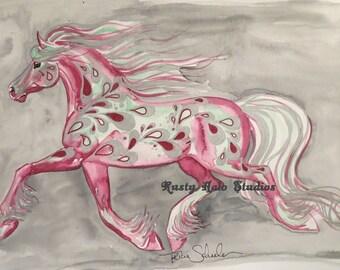 Grey drop horse art print