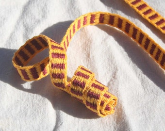 Trim - Maroon and Yellow Linen - 1 Yard