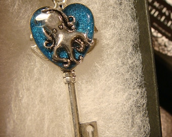 Octopus Heart Key Necklace in Antique Silver- Blue Glitter Background (2087)