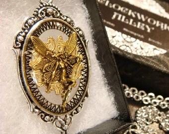 Clockwork Fairy - Flying Fairy over Etched Brass Gear Steampunk Pendant Necklace  (1910)