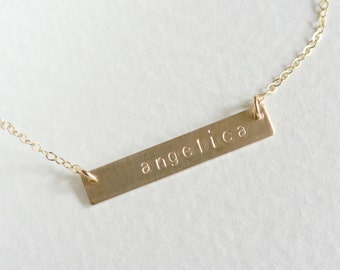 Personalized Bar Necklace, Customized Name Necklace, Silver or Gold Name Plate Necklace, Personalized Jewelry, Initial Bar Necklace