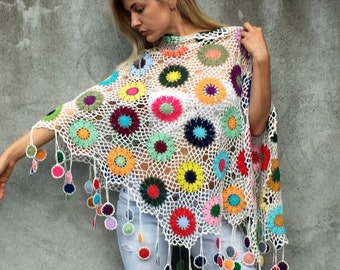 Women Accessories Colorful Crochet shawl white background multicolor flowers