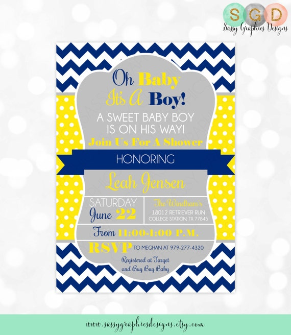 Boys baby shower invitation chevron baby shower invite baby boy il570xn filmwisefo Images
