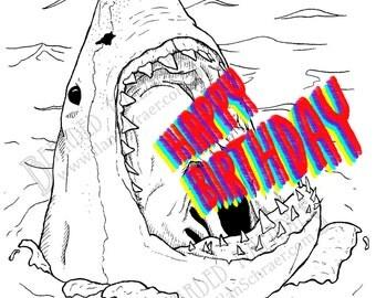 "Great White Birthday Card, Shark, 4.25""x5.5"", blank inside, ocean"