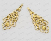 20% Off - Moving Sale - 8 Antiqued Gold Plated Metal Filigree Drop Connector 41x18mmm B1296