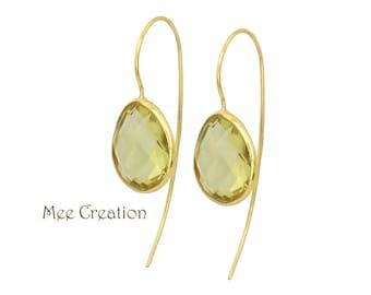 EE6150006) Lemon Quartz Earrings, Lemon Quartz Checkerboard Earrings, Yellow Earrings, Lemon Quartz Drop Earrings, Quartz Earrings, Bohemian