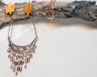 Copper Fringe Art Necklace with Repurposed wood Oak leaves hardware and a bohemian punk style - Metallic Autumn Wind