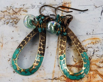 Bohemian Chic Natural Brass Verdigris Patina Glass Beads Artisan Earrings