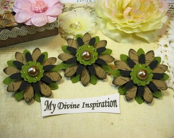 Black Light Brown and Apple Green Handmade Paper Embellishments Paper Flowers for Scrapbook Layouts Cards Mini Albums Tags and  Paper Crafts