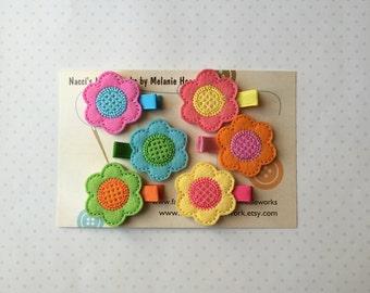 Spring Flowers Hair Clip Set- Set of 6
