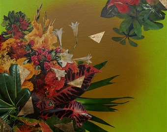 Jungle Gold - mixed media botanical painting with leaves, gold leaf, cut out vintage florals, greenery, envoking the tropics