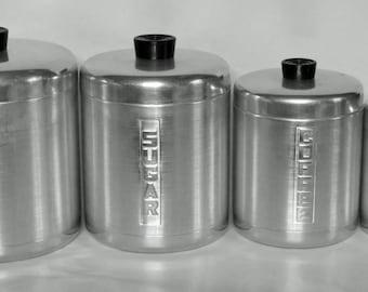 Vintage aluminum canister set sugar flour coffee tea mid-century 1950's kitchen by Century USA