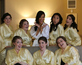 Bridesmaid robes Gold robes Yellow bridesmaid silk satin robes dressing gown personalized robes kimono robes floral robe wedding gift cheap