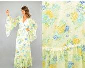 SUMMER SALE SALE • 70's Angel Sleeve Maxi Dress