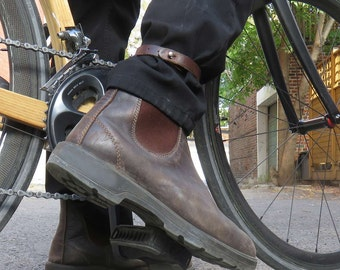 Cyclist Pant Protector Anklet/Pantlet -  Black Leather